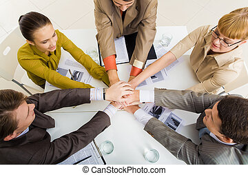 Symbol of partnership - View from above of business partners...