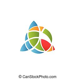 Cubism art logotype, colorful stained-glass window template....