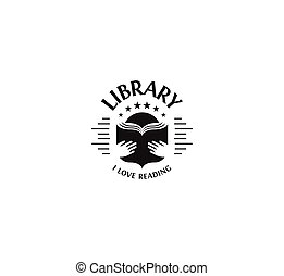 Black and white library logotype on white background, school...