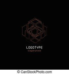 Outline contour abstract technology vector logo, unusual...