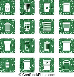 Trash can icons set grunge - Trash can icons set in grunge...