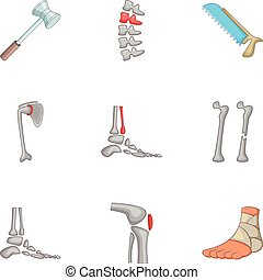 Traumatology and orthopedics icons set. Cartoon set of 9...