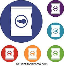 Chips plastic bag icons set in flat circle red, blue and...