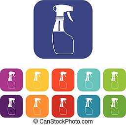 Spray icons set vector illustration in flat style in colors...