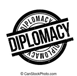 Diplomacy rubber stamp. Grunge design with dust scratches....