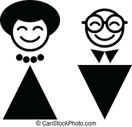 happy man and woman. WC symbol
