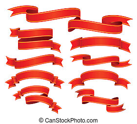 red ribbons - vector set of red ribbons