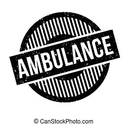 Ambulance rubber stamp. Grunge design with dust scratches....