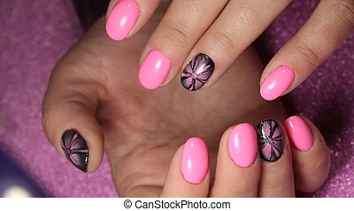 Beautiful nails with a flower