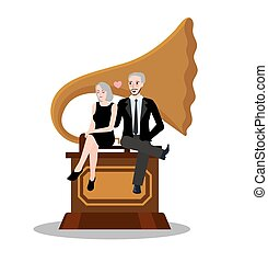 couple male female sit on gramophone old music classic