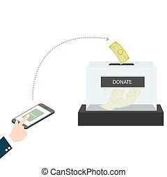 online mobile donation fundraiser hands holding box charity giving support others