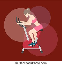 girl woman work-out in static bike fitness equipment...