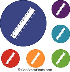 Yardstick icons set in flat circle red, blue and green color...