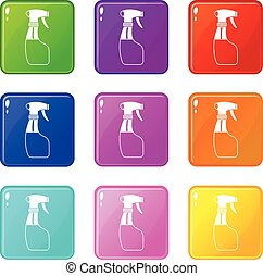 Spray set 9 - Spray icons of 9 color set isolated vector...