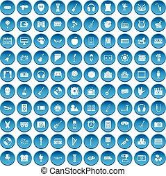 azul, Conjunto, iconos,  100, educación,  musical
