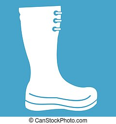 Rubber boots icon white isolated on blue background vector...