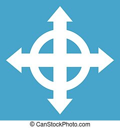 Arrows target icon white isolated on blue background vector...