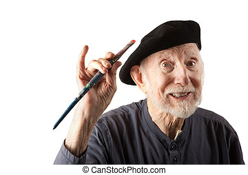 Senior artist with beret and brushes - Eccentric senior...