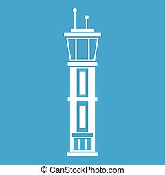 Airport control tower icon white