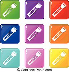 Clipper set 9 - Clipper icons of 9 color set isolated vector...