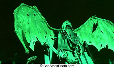 Demon moving wings night - Animated acid sculpture monster...