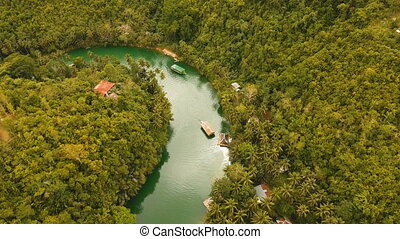 Loboc river in the rainforest Philippines, Bohol. - Aerial...
