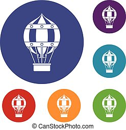 Old fashioned helium balloon icons set - Old fashioned...