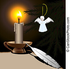 Christmas Eve - on a dark background burning candle, an old...