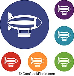 Striped dirigible icons set in flat circle red, blue and...