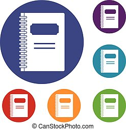 Closed spiral notebook icons set