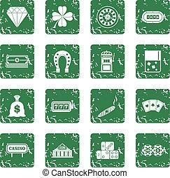 Casino icons set grunge
