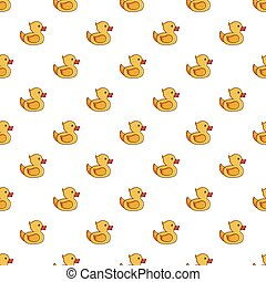 Yellow duck toy pattern seamless repeat in cartoon style...