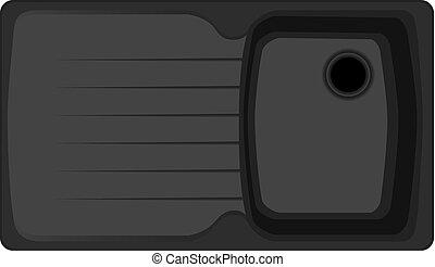 Modern kitchen sink - The dark gray modern kitchen sink with...