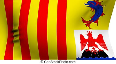 Flag of Provence-Alpes-Cote d'Azur against white background....