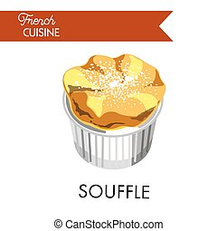 Tender souffle from french cuisine sprinkled with powder....