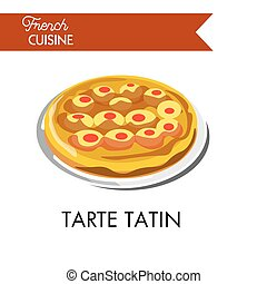 Fruity tarte tatin from french cuisine isolated illustration...