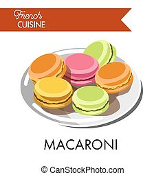 Delicious colorful macaroni from french cuisine on plate....