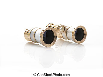 A Pair of White and Gold opera glasses on a white background...