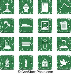 Funeral icons set grunge - Funeral icons set in grunge style...