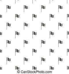 Chequered flag pattern seamless repeat in cartoon style...