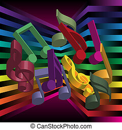 Music Party Background - Multicolor Notes on Streaky...