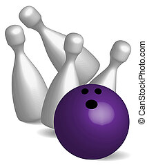 Bowling - Four Pins and Violet Ball On White Background /...