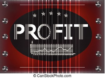 """Graph and word """"profit"""" on a red background"""