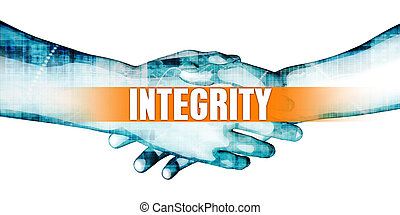 Integrity Concept with Businessmen Handshake on White...