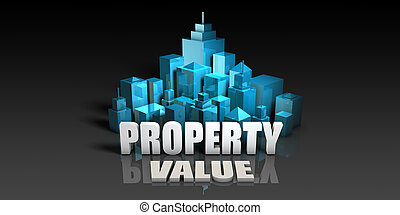 Property Value Concept in Blue on Black Background