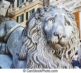 Stone lion in close up, horizontal image