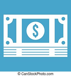 Stack of money icon white isolated on blue background vector...