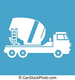 Concrete mixer truck icon white isolated on blue background...