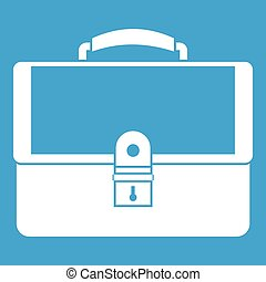 Briefcase icon white isolated on blue background vector...