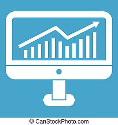 Growth graph on the computer monitor icon white
